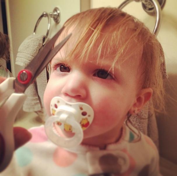 Trimming toddler's mullet bangs @ohbotherblog