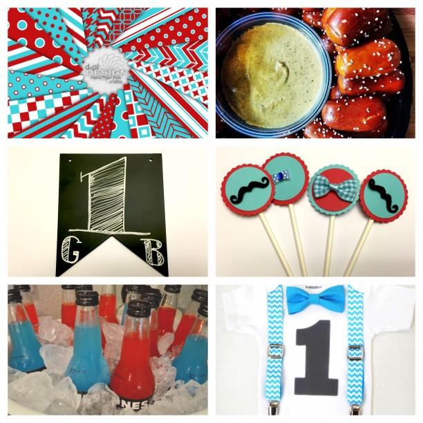 GB's party inspiration board - red and aqua first birthday @ohbotherblog