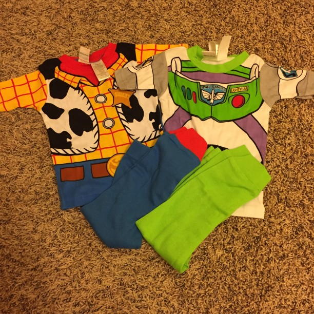 Woody and Buzz Lightyear Pajamas for Halloween @ohbotherblog