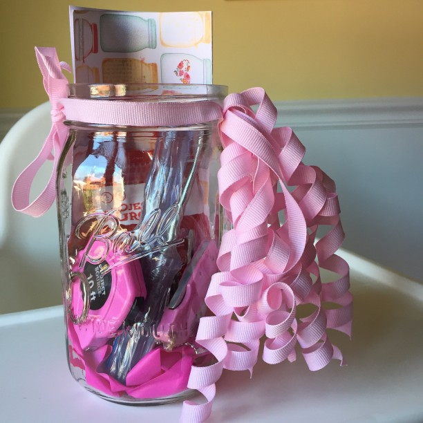 A home improvement gift set for a Mason Jar themed bridal shower