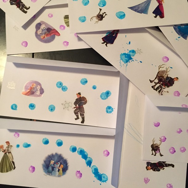 Let your toddler color and place stickers on a thank you card for a personal touch @ohbotherblog