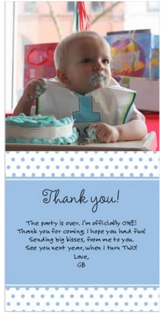 Easy cheater thank-you cards for a baby's first birthday @ohbotherblog