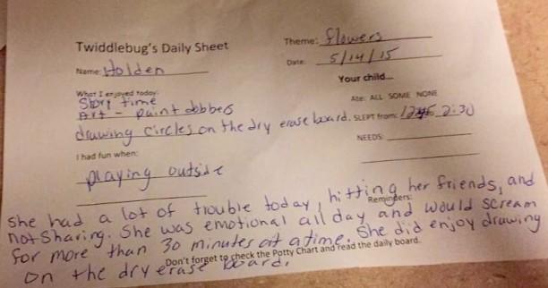 bad behavior notes from daycare @ohbotherblog