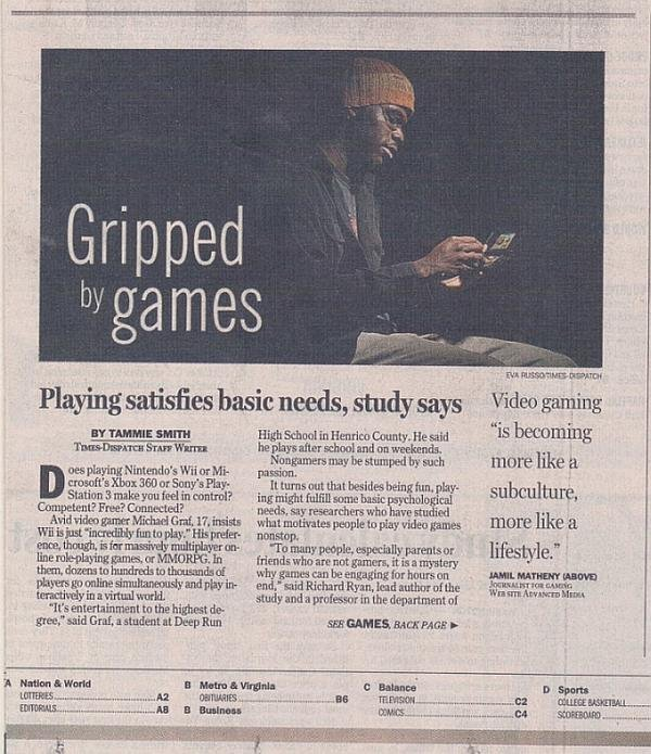 I was featured on the front page of the Richmond Times-Dispatch newspaper in 2010 and as well as being featured in an article describing the video game culture as a lifestyle for enthusiasts. (Photo courtesy/  Eva Russo  - Times Dispatch)