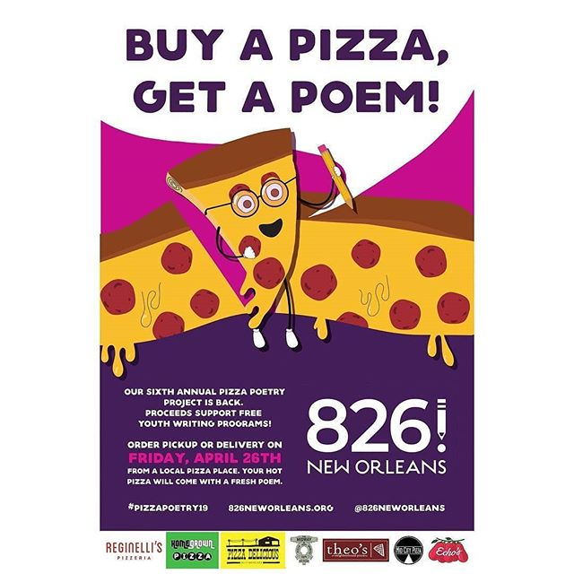 We love Pizza Poetry and we're in again this year! On April 26th, order a pizza, get a poem written by a young creative and help support youth writing programs!! . Repost: @826neworleans -  It's time to start planning those pizza parties, y'all, because #PizzaPoetry is back for its 6th year! 🍕🍕🍕 • • #pizza#poetry#youthwriting #youthempowerment#pizzaparty #nolapizza #yummy#fun#nola#neworleans #onetimeinnola #nonprofit #nolanonprofit #826neworleans #826 #poem #writing #teenwriting#kidwriting #fundraiser #communitypartnerships