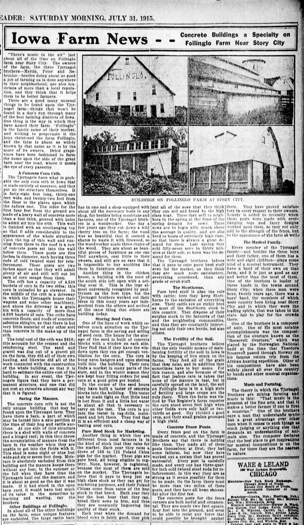 Des Moines Register  story on Follinglo Farm, July 31, 1915, p.10