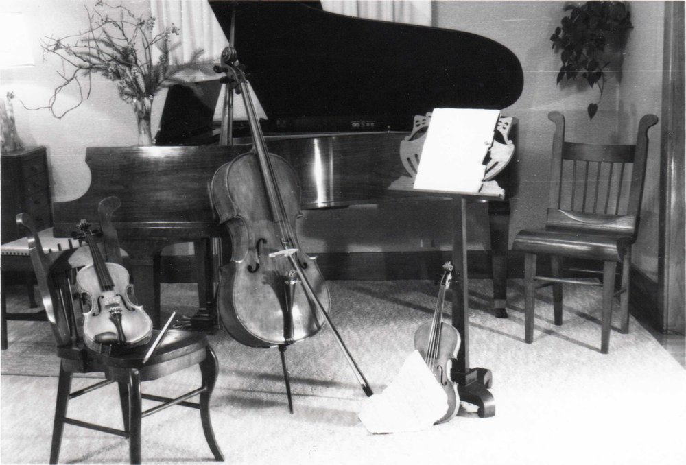 Music room in the Follinglo home showing hand-made chairs and music stand made by Peder Gustav