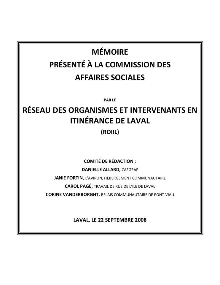 MÉMOIRE PRÉSENTÉ À LA COMMISSION DES AFFAIRES SOCIALES, 22 SEPTEMBRE 2008