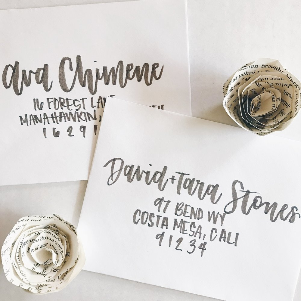 Envelope Addressing - Envelope addressing is priced per envelope for guest addresses only.Black/White ink - $1.50/envelopeGold ink - $2/envelopePlease inquire if you are wanting return addresses as well.*15% extra envelopes must be provided to account for mistakes, revisions, and add ons.