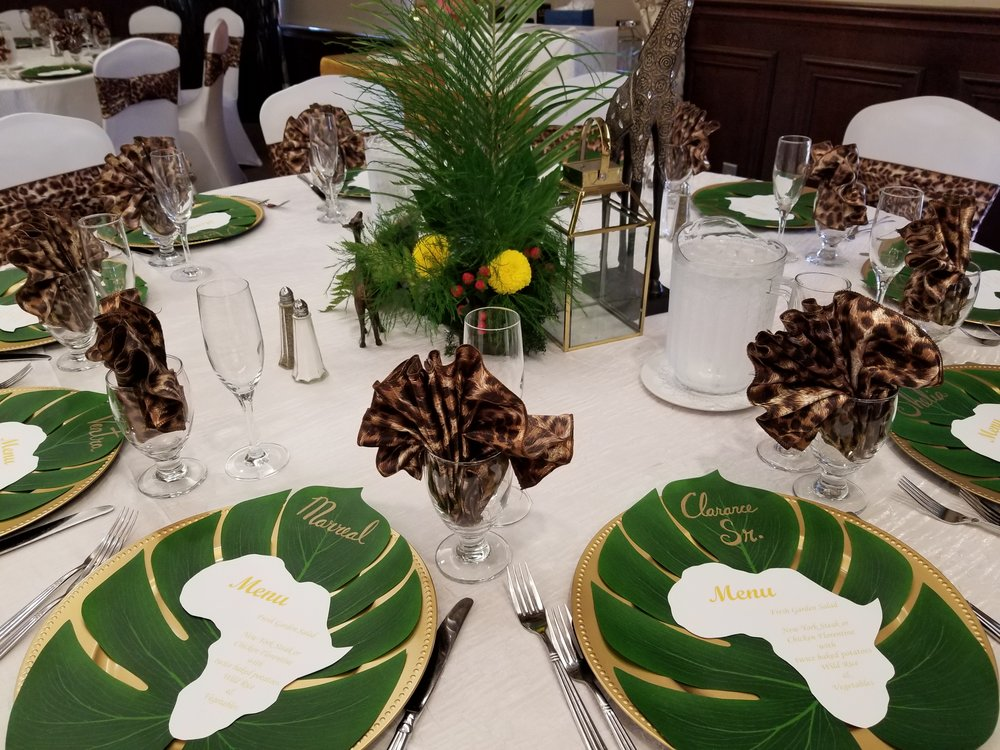 The tables are decorated with custom made centerpieces, place mats and menus. No detail was overlooked.