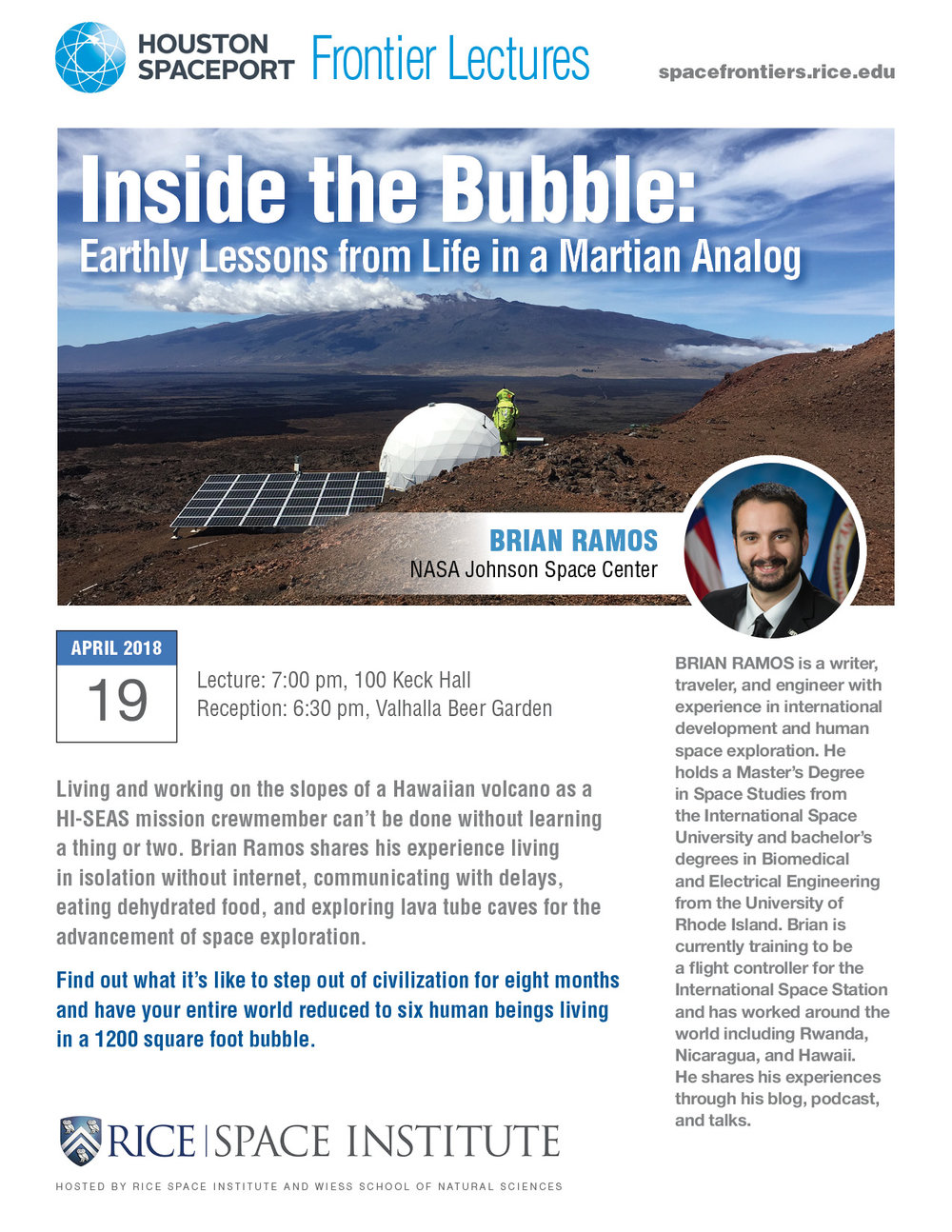 "- Several talks offered:- Lessons from a traveling Martian- ""That's not practical"" - saying yes to your Dreams- Traveling the World and Getting Outside your Bubble- International Space"