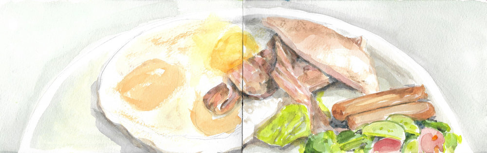 A quick watercolour sketch of a breakfast I ate at a restaurant in Kensington Market called KOS