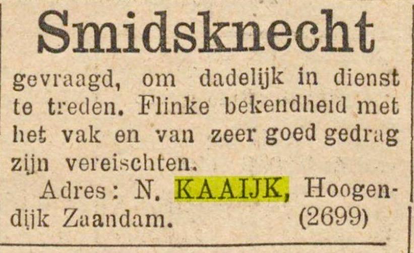 Een personeelsadvertentie van 5 april 1897. (Godsdienstig-staatskundig Dagblad)