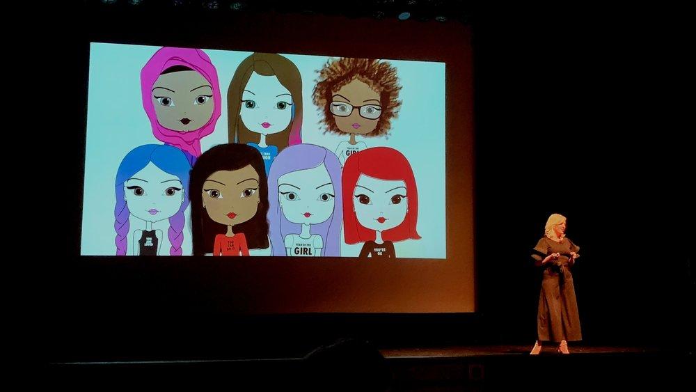 Pincurl Girls  Founder, Jen Landis, presenting at Demo Day 2018.