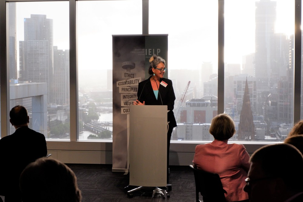 Serena Lillywhite, CEO of Transparency International Australia addresses attendees at the inaugural Senior Executive IELP Alumni Dinner.