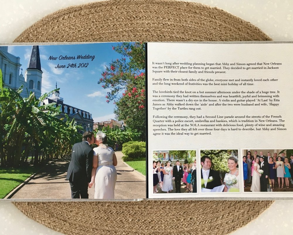 Example page within our own 'Love Story Book'!