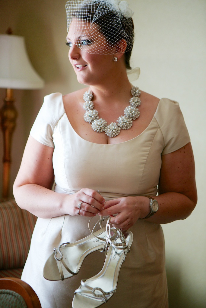 My champagne Alfred Sung (bridesmaid) wedding dress in New Orleans. The Kate Spade necklace was double the price of the dress but was oh-so-worth-it! And don't worry, I remembered to take my watch off…