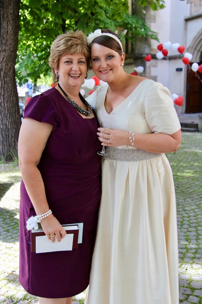 My gorgeous Mama and me wearing her (slightly altered) wedding dress in Germany!
