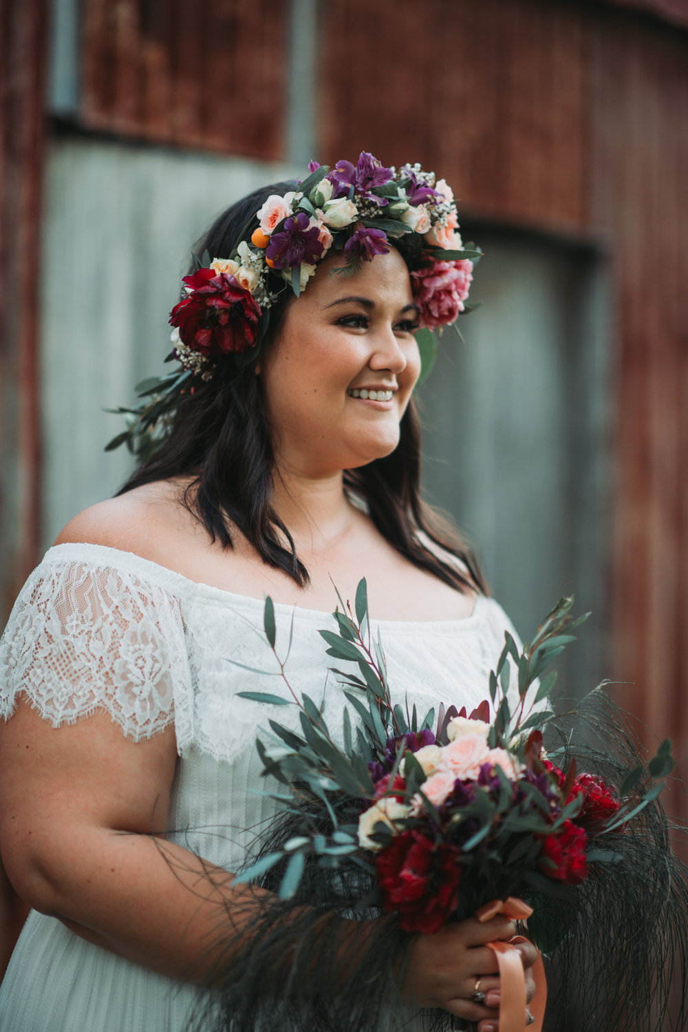 Engagement Photoshoot Inspiration Brisbane Wedding Photography Confetti Bright Flowers Bouquet Floral Crown Rustic Shed Backdrop Old Petrie Town Lovelenscapes Photography www.lovelenscapes.com