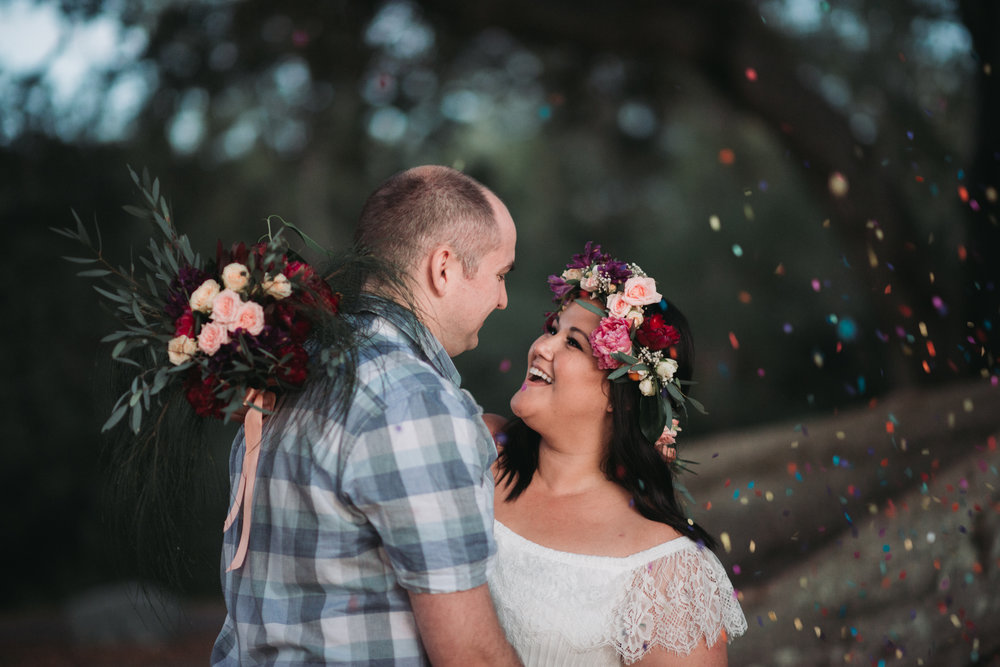 Engagement Photoshoot Inspiration Brisbane Wedding Photography Confetti Bright Flowers Bouquet Floral Crown Old Petrie Town Lovelenscapes Photography www.lovelenscapes.com