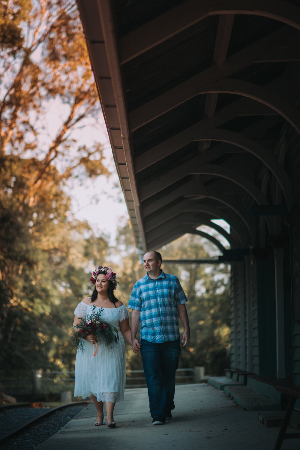 Engagement Photoshoot Inspiration Brisbane Wedding Photography Confetti Bright Flowers Bouquet Floral Crown Old Petrie Town Train Station Lovelenscapes Photography www.lovelenscapes.com