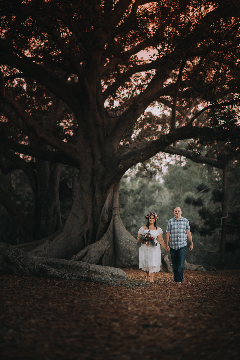 Engagement Photoshoot Inspiration Brisbane Wedding Photography Confetti Bright Flowers Bouquet Floral Crown Old Petrie Town Sunset Fig Trees Lovelenscapes Photography www.lovelenscapes.com