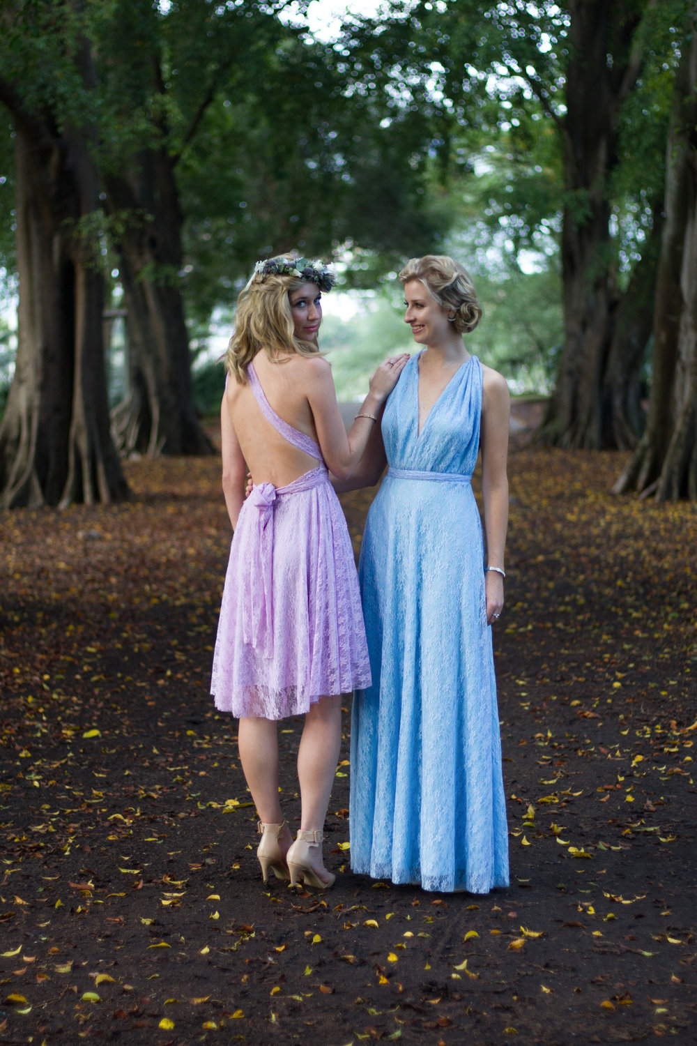 Bride Gold Metallic Wedding Dress Floral Crown Bohemian Chic Styling Brisbane Botanic Gardens Creative Photoshoot Lace Bridesmaid Dresses www.adella.photography