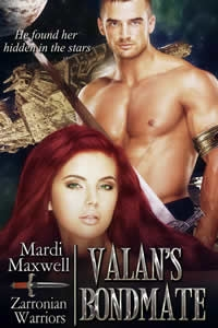 Valan's Bondmate - Valan Eirikson lost his mother and twin sister when the Wrothians attacked Zarronia and killed all of the Zarronian females. Years later, his mating fever is reaching its zenith and without a compatible female his death is imminent. Then the Zarronian Council announces that they've discovered that the Wrothian females are compatible. Valan refuses to take one as a mate until he's given an ultimatum...bond, or be exiled to the Zarronian mountains to die alone in dishonor. Enraged, he reluctantly relents, captures a female and bonds with her while swearing he'll never treat her as a beloved bondmate. Lia Ad-San is the daughter of the Wrothian leader who ordered the attack on Zarronia. In her culture females are raised to be obedient and to accept being traded to a powerful warrior for political gain, but Lia has a mind of her own. Even though she's young, and inexperienced when it comes to the world away from her small village, she's determined to be loved and to have a family of her own. A dream that's challenged when she finds herself bonded to Valan, and fighting his pride and anger for his love. Note from the author: the reader will enjoy this series more if they read them in the order they were written.
