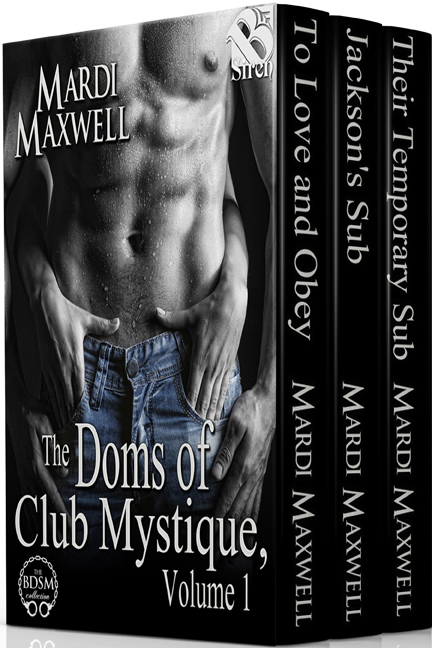 Doms of Club Mystique Box Set - The Doms of Club Mystique, Volume 1 (All 3 books for $3.99)In To Love and Obey, Addison Mathews claimed Cade Ramsey at a young age, and since then he has been the only man she has ever loved. Cade is a Dom that believes love can't be trusted, though he gives up his former lifestyle to marry Addison. As Addison discovers Cade's secrets, their relationship is strained, but just as they are working things out, an old enemy of Cade's attempts to take his revenge on Addison. Cade must fight to save her and their future.In Jackson's Sub, Jackson Ramsey and Jenna Parnelle spend a passionate night together, but a misunderstanding disrupts what might be love. A year later, Jenna finds herself dreading their reencounter as she helps her friend Addison prepare to marry Jackson's brother. Jackson has learned he could never hurt the only woman he has ever loved, but he knows he must convince Jenna to uncover her guarded heart. Can the determined Dom persuade the stubborn submissive?In Their Temporary Sub, Logan Ramsey knows Cassie Edwards is the one woman who could satisfy both him and his twin brother Luc, but Luc doesn't trust the secretive beauty. Cassie blames herself for her father's death and keeps her distance from loved ones to protect them. As her attraction to them grows, she must decide if she can be their temporary sub without endangering them. All bets are off when the twins discover her secrets and swear to protect her from the men who killed her father.
