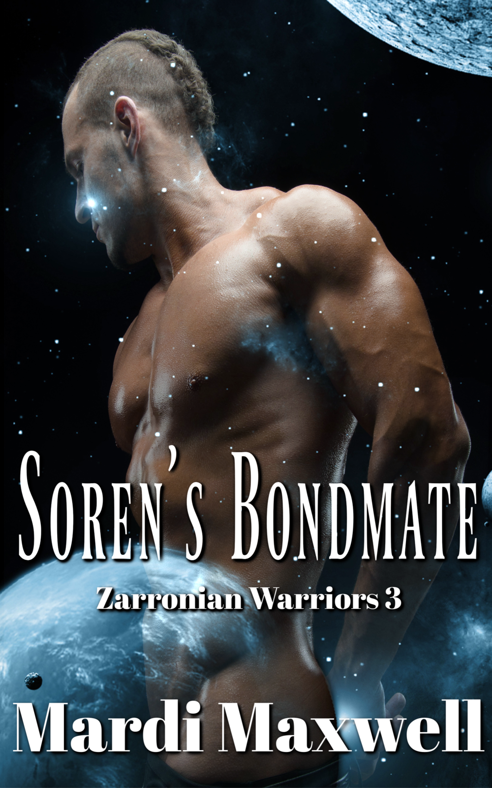Soren's Bondmate - Soren Valanson is a fierce Zarronian warrior but he's also a level six when it comes to bonding and finding a compatible female. An impossible task as no known level six females have ever been found. With his mating fever nearing its end he leaves Zarronia and travels to an unexplored galaxy where his starship is attacked. During the battle to save his crew Soren's starglider is damaged and crashes to a small frozen planet. Krystali enchantress, Skye Ka-Hal is hiding from would-be kidnappers who want to claim her powers for their own. She's one of the few Krystali females who can manipulate the elements and produce dark krystal, a powerful weapon. When she sees an object crash near her home she investigates and finds an injured warrior in the wreckage. He's dying but she can save him if she takes a risk and claims him without his full consent. A deed that will end in her death if its discovered by the Krystali Kouncil.