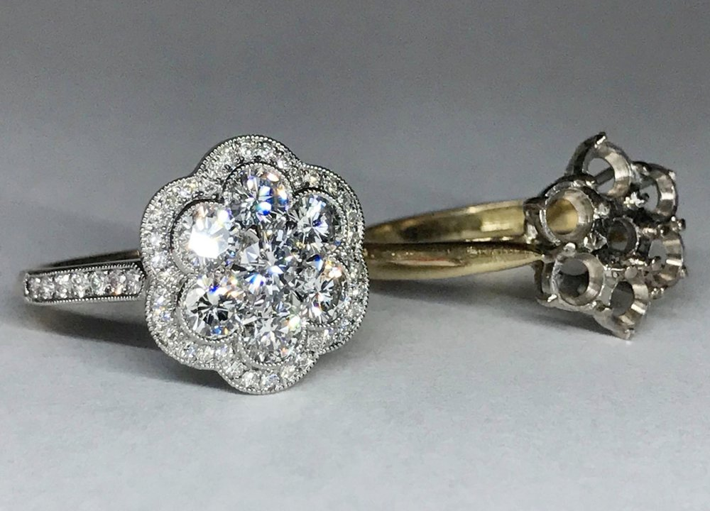 From a 1980's seven stone claw set ring to a finely set Edwardian-style daisy cluster. - We added a little 18ct gold, platinum and some extra diamonds and got one happy customer!