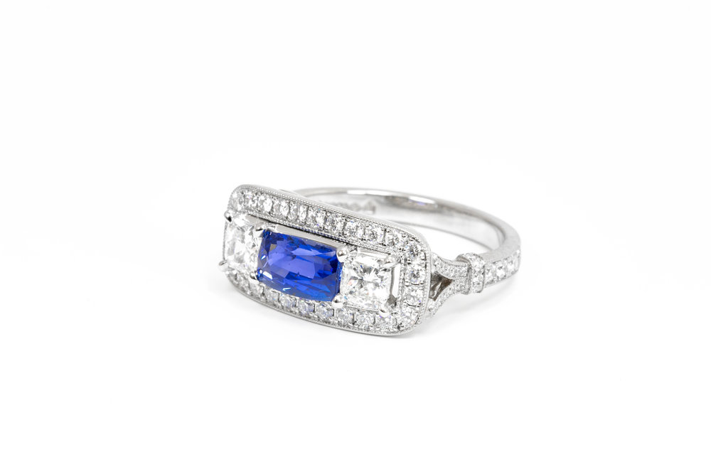 1920's style platinum mounted diamond and sapphire landscape set cluster ring. Made in Chichester, England.