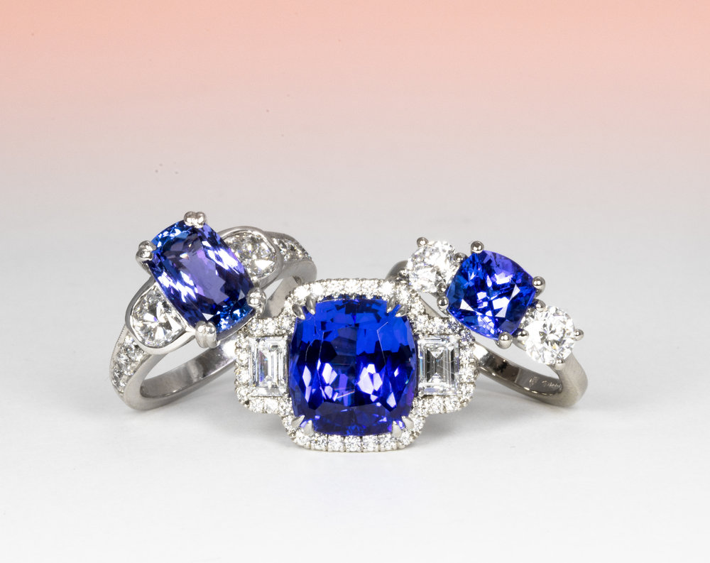 Tanzanite and diamond cluster rings. Made in Chichester, England.