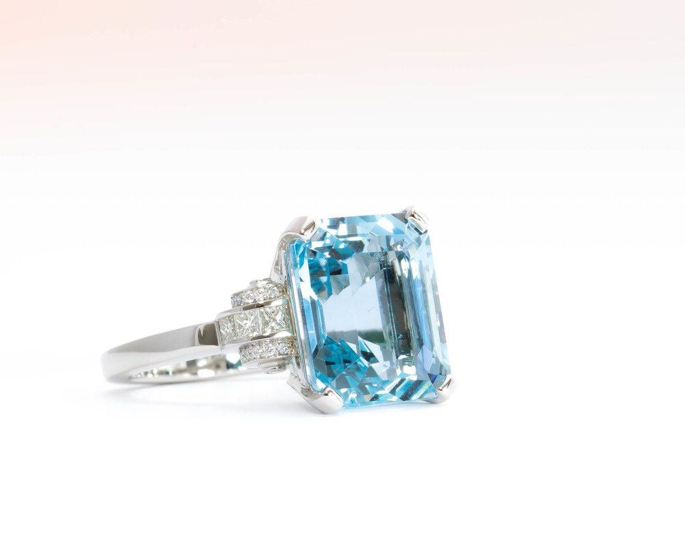 Aquamarine and diamond Art deco style ring. Made in Chichester, england.
