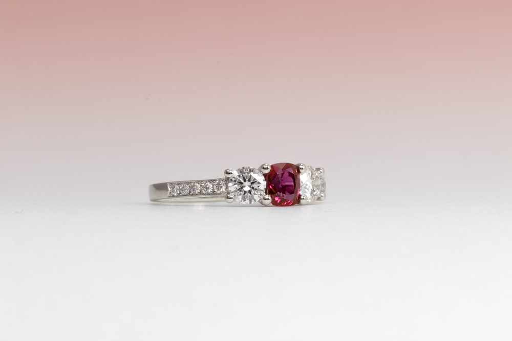 Platinum mounted 1.03ct ruby and diamond ring. Made in Chichester, England.