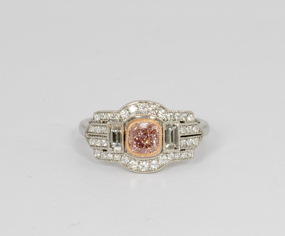 Natural pink cushion cut diamond in Art Deco style mount. Made in Chichester, England.