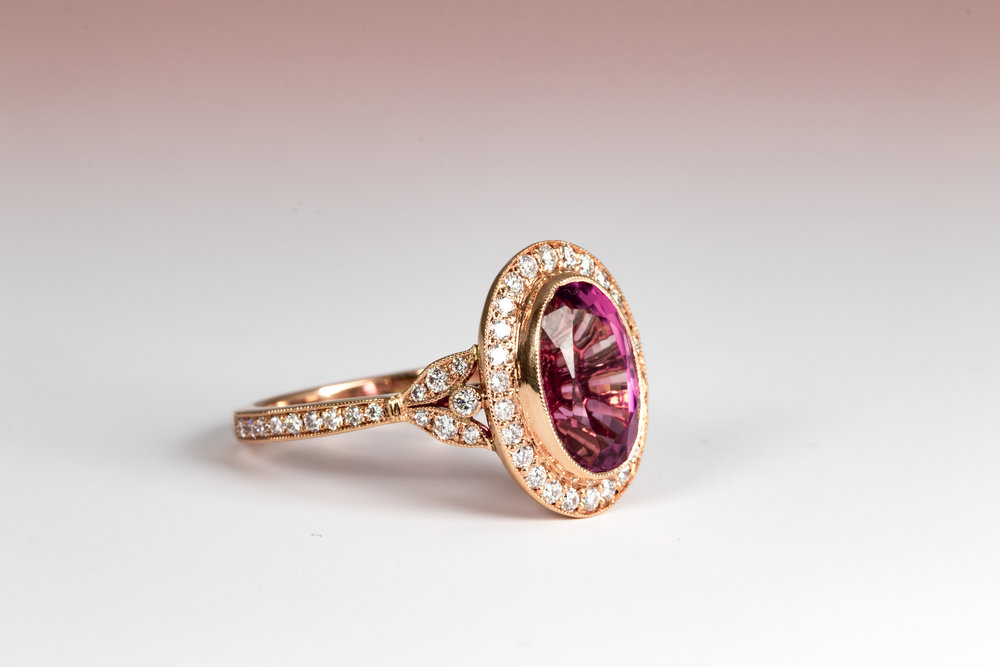 18ct Rose gold mounted 4.16ct pink tourmaline cluster ring. Made in Chichester, England.