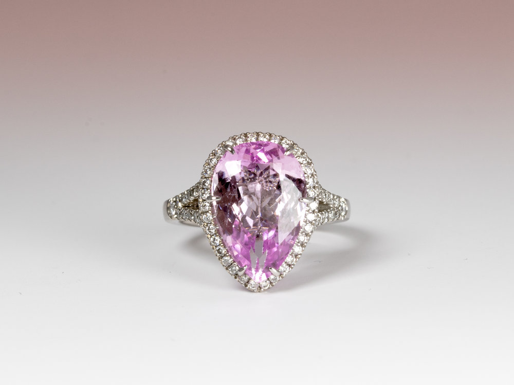 6.82ct Pear-shaped Kunzite and diamond cluster ring.  Made in Chichester, England.