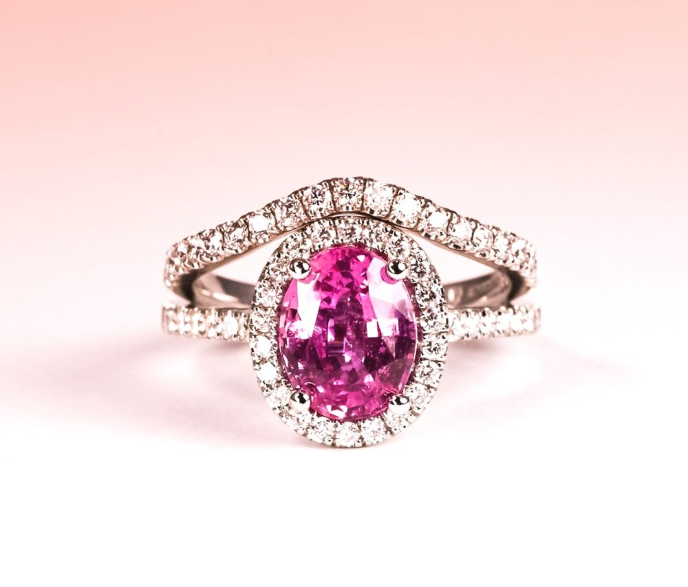 2.57ct pink sapphire and diamond cluster ring. Platinum. Made in Chichester, England.