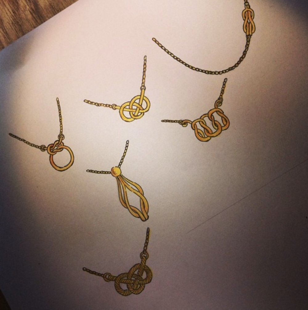 Some choices for a knot themed necklace.