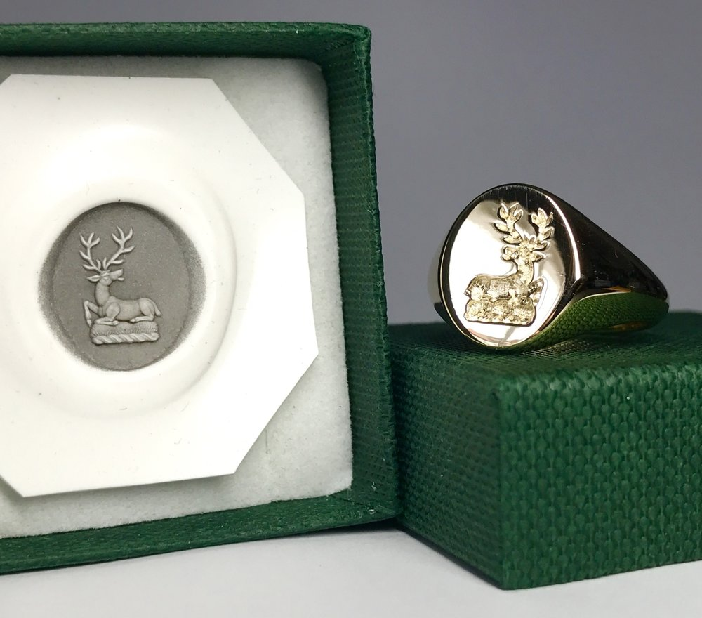 Wax impression of the engraved signet ring.