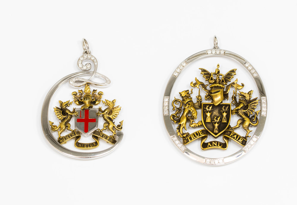 Two pendants made for a City Consorts and Charted Accountants Livery Company member.