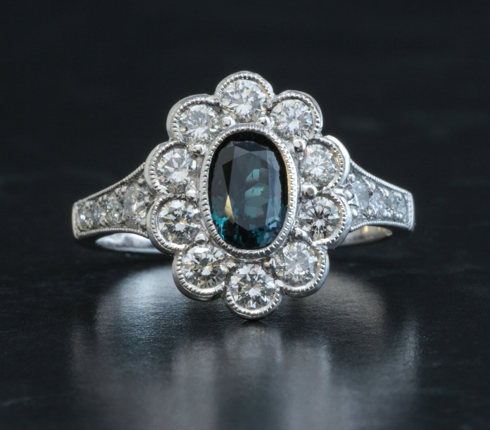 Diamond and alexandrite set oval cluster ring. Made in Chichester, England.