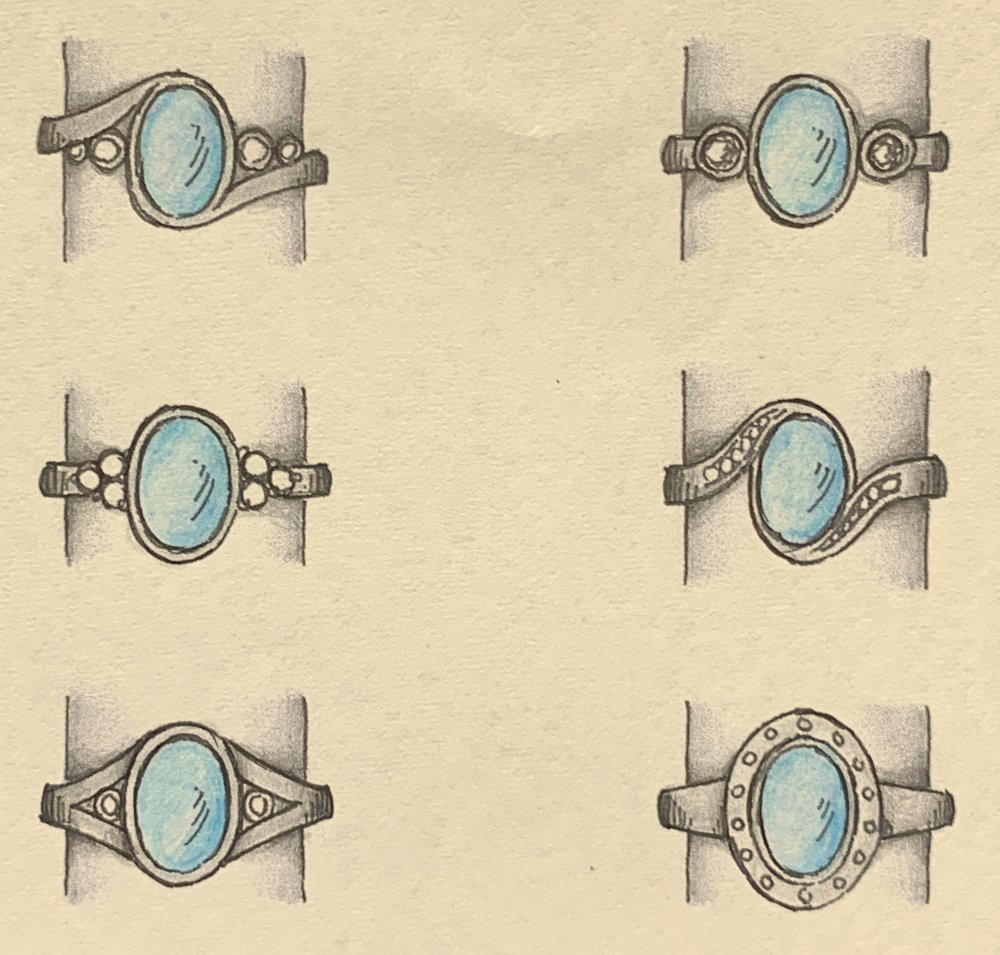 Some choices fro a cabouchon aqua and diamond ring.