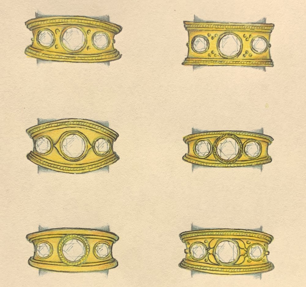 Variations on an Etruscan style wide band ring.