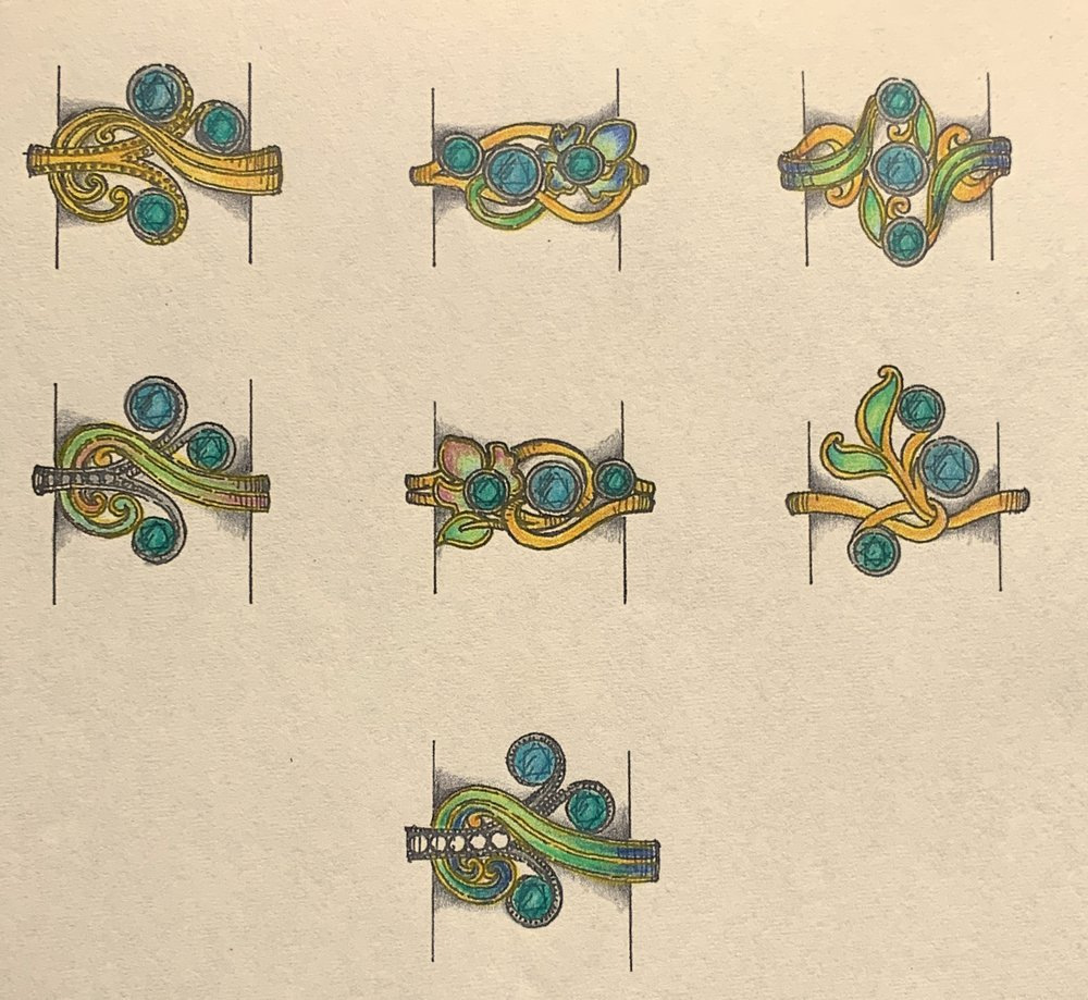 Art Nouveau style designs for customers stones with enamel decoration.