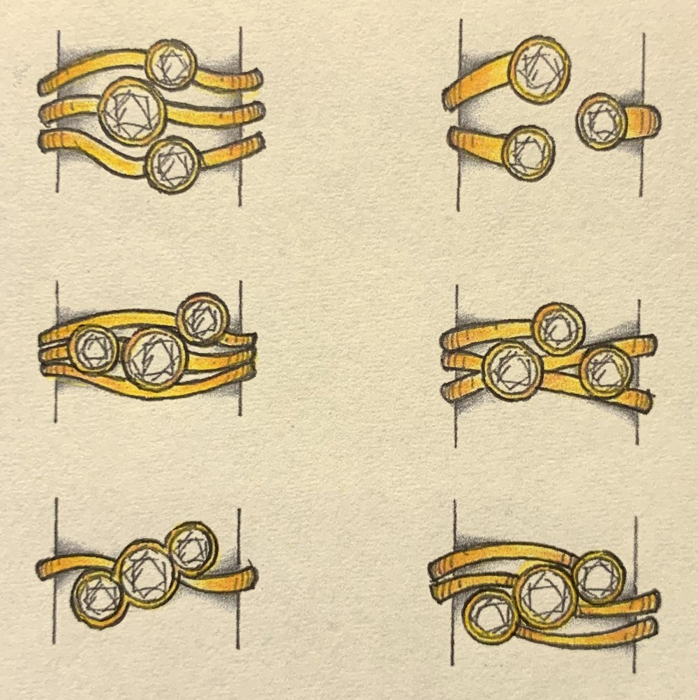 More multiband designs. Perfect style for combining odd sizes of stones.