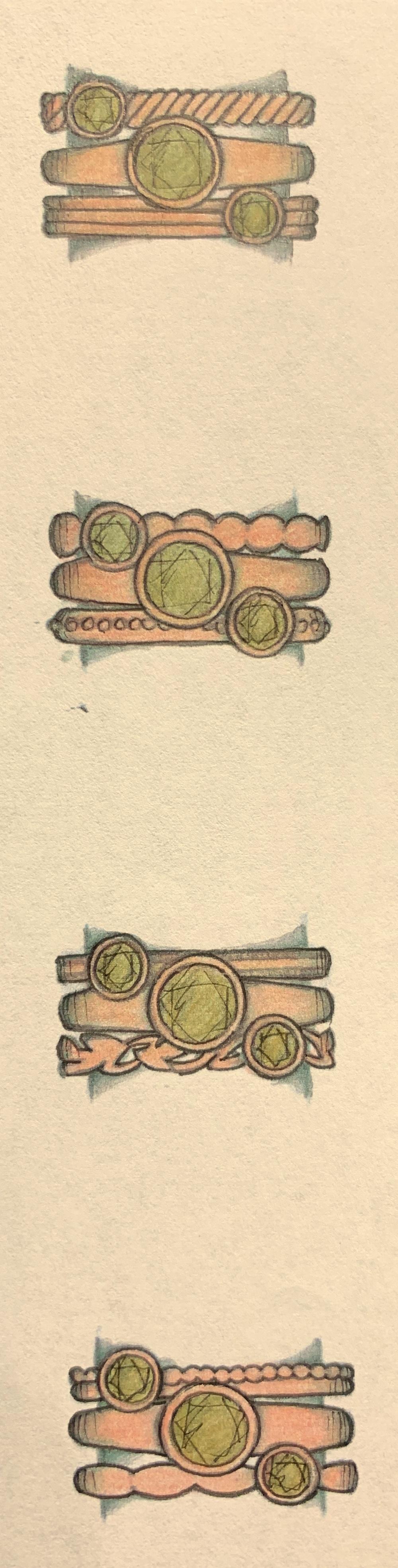 Slight variations on a stacking ring set.