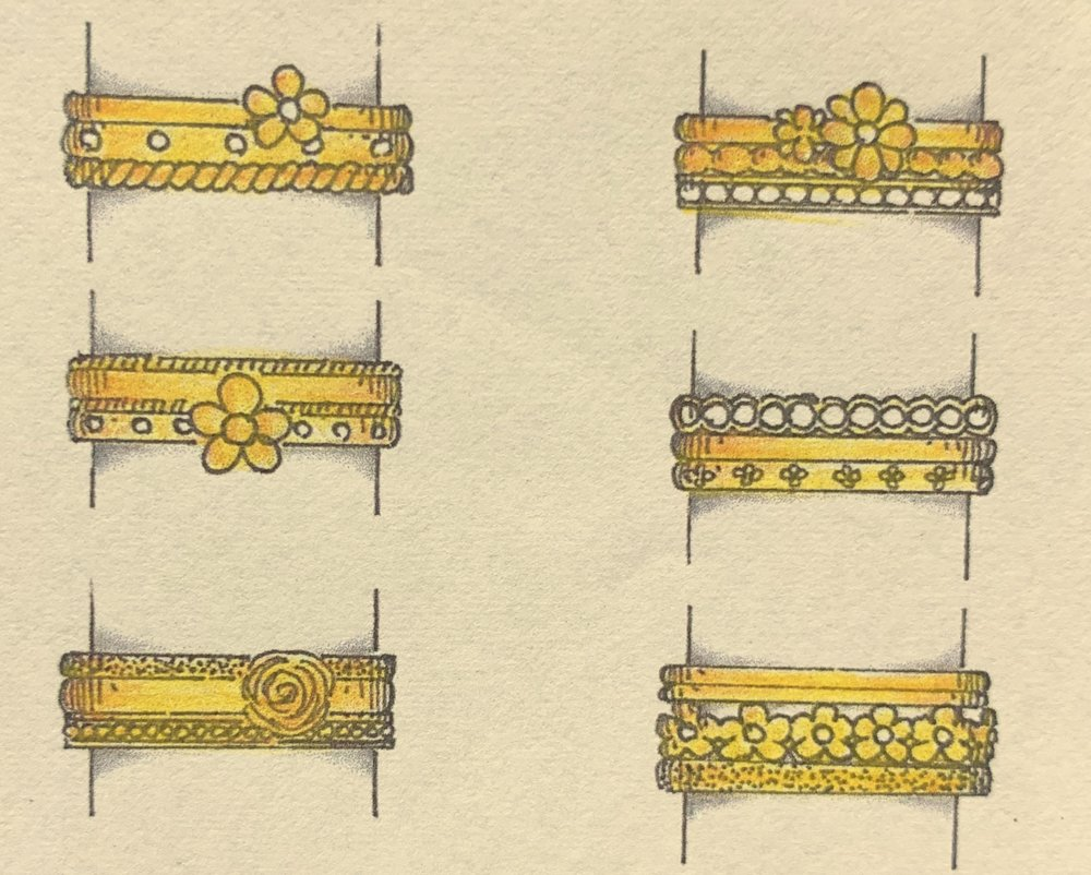 Stacking ring variations using customers diamonds.