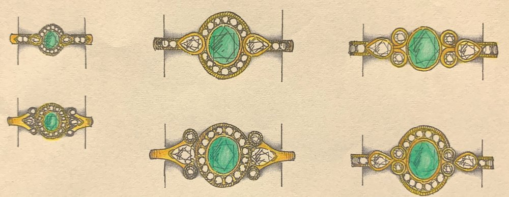 Designs for remounting stones from a worn-out emerald and diamond ring.